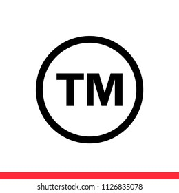 TM vector icon, trademark symbol. Simple, flat design for web or mobile app
