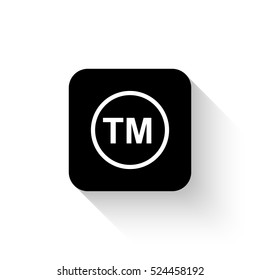 tm - white vector  icon with shadow