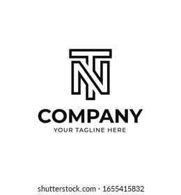 TN or NT initial letter logo template, vector file eps 10, text and color is easy to edit