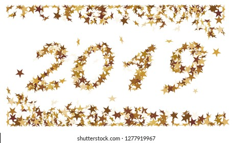 Tne number 2019 made of golden stars