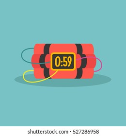 TNT time bomb with digital display / flat editable vector illustration, clip art