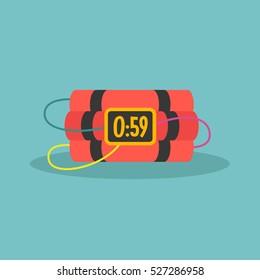 TNT time bomb with digital display / flat editable vector illustration, clip art