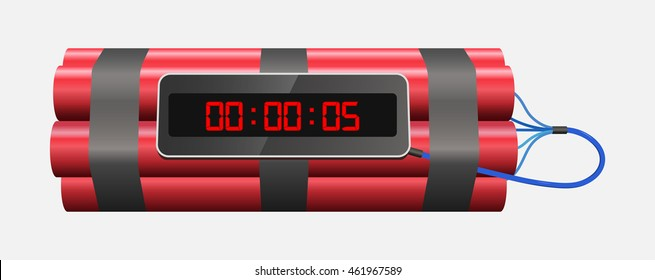TNT time bomb explosive with digital countdown timer clock on white background