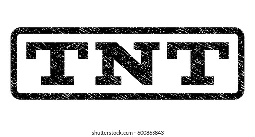 Tnt watermark stamp. Text tag inside rounded rectangle frame with grunge design style. Rubber seal stamp with dust texture. Vector black ink imprint on a white background.