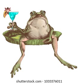 the toad sits with a raised paw with a cocktail on the big flat Lily pad, sketch vector graphics color picture