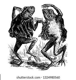 Toads dancing on the Sabbath dressed in red velvet, and some are in black velvet. They were also wearing a bell at the neck and another at the hind legs., vintage illustration. Infernal Dictionary.