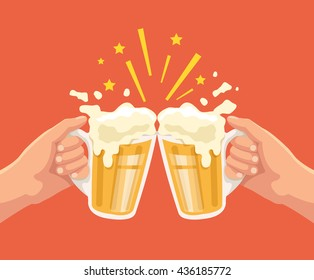 Toast with beer. Two hands. Toast with two hand with beer. Mug of beer. Vector flat cartoon illustration