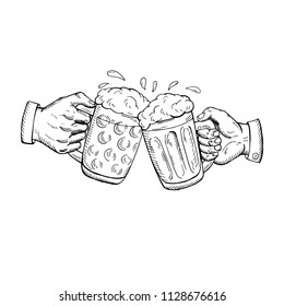 Toast with beer. Two hands holding and clinking with beer glasses mug. Vintage vector engraving illustration for web, poster, invitation to party oktoberfest festival.