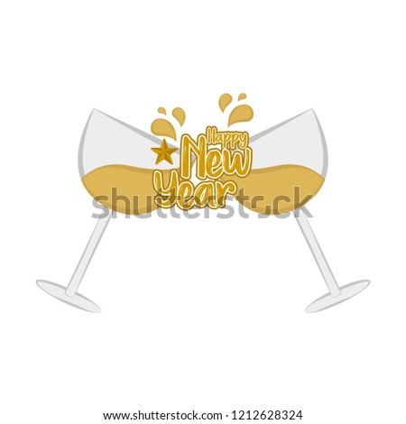 toast celebration happy new year vector illustration design