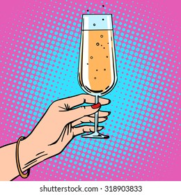 Toast - a female hand with glass of champagne at celebration party. Theme birthday or New year. Retro style pop art