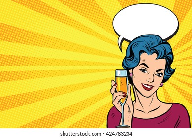 Toast girl party yellow retro background pop art retro vector. Celebration and party. Alcohol drink