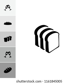 Toast icon. collection of 6 toast filled icons such as bread, bread slices. editable toast icons for web and mobile.