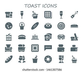 toast icon set. 30 filled toast icons.  Simple modern icons about  - Bread, Champagne, Ice bucket, Waffle, Cinnamon roll, Pancakes, Toast, Toaster, Bravo, Bagel