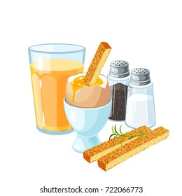 Toast soldiers. Soft-boiled egg in eggshell in egg holder. Pair of transparent glass shaker, salt and pepper. A glass of orange juice. Vector illustration cartoon flat icon set isolated on white.