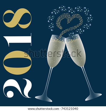 toast to wish the new year 2018 an invitation card for a romantic evening