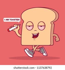 Toasted Bread walking down the street vector illustration. Weed, marijuana, medicinal marijuana, food, munchies design concept
