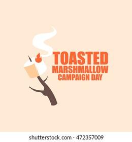 Toasted Marshmallow day vector illustration. Flat style