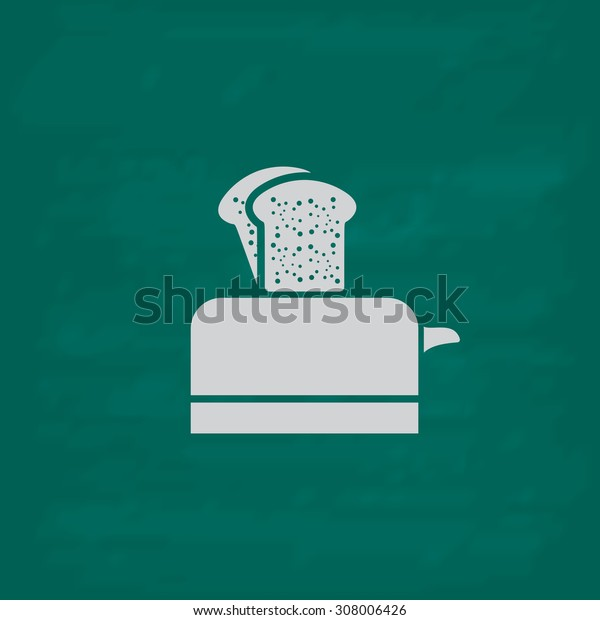 Toaster. Icon. Imitation draw with white chalk on green chalkboard. Flat Pictogram and School board background. Vector illustration symbol