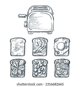 Toaster and various toppers on toasted bread. Cooking breakfast, vector sketch illustration. Recipes and ingredients for delicious toast toppings. Restaurant or cafe brunch menu design elements.