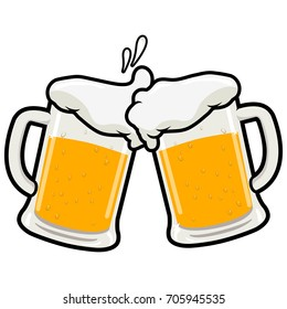 Toasting beer glasses. Vector illustration