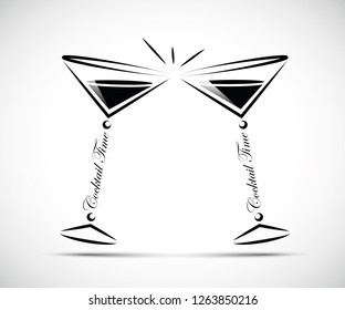 toasting with coktails line icon vector illustration EPS10