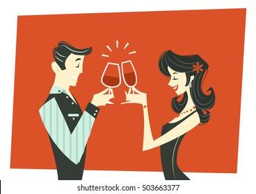Toasting couple - illustration