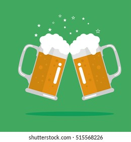 Toasting glasses of beer. Vector Illustration