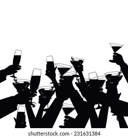 toasting hands silhouette background EPS 10 vector illustration