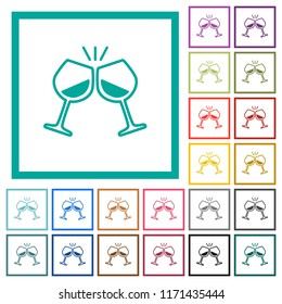 Toasting with wine flat color icons with quadrant frames on white background