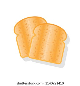 Toasts isolated on white background. Vector illustration flat design. Breakfast concept toast. Two slices of toast. Fried bread.
