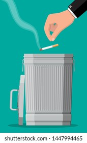 Tobacco abuse concept. Hand putting cigarettes in trash bin. No smoking. Rejection, proposal smoke. Vector illustration in flat style.