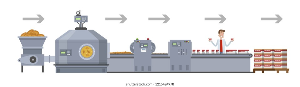Tobacco for cigarette production. From harvest to automated machinery line on the factory. Product for smoke manufacturing. Vector flat illustration