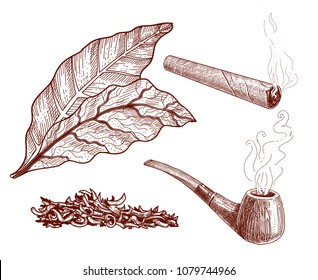 Tobacco design elements set: pipe with smoke and leaves, chopped tobacco for a pipe and a cigarette, a cigar. Ink outline vector illustration isolated on white.