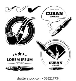 Tobacco leaves, cigars and hookah labels vector set. Cuban and havana smoking illustration