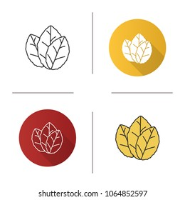 Tobacco leaves icon. Mint. Flat design, linear and color styles. Isolated vector illustrations