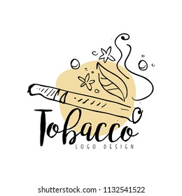 Tobacco logo design, emblem for smoke shop, gentlemens club and tobacco products hand drawn vector Illustration on a white background