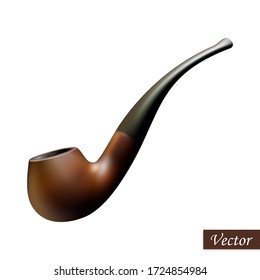 Tobacco pipe isolated on white background. Realistic smoking pipe. Macro icon wooden item. Vector illustration 3D element. Colorful mock up. Design for card, brochure, banner, logo, brochure. Stock.