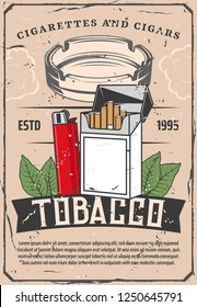 Tobacco products selling poster with cigarettes or cigars and lighter, ashtray and leaves. Smoking industry production leaflet or brochure. Harmful habit and health thread vintage banner vector