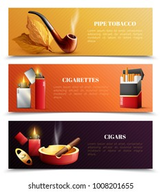 Tobacco products set of horizontal banners with smoking pipe, cigarettes and lighters, cigars isolated vector illustration