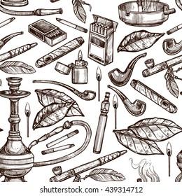 Tobacco And Smoking Sketch Seamless Hand Drawn Monochrome Pattern