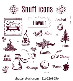 Tobacco snuff icons - sketch style, vector graphic illustration