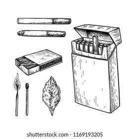 Tobbaco smoking vector drawing set. Cigarette pack, matches box, burning match, leaf sketch. Smoker element. Isolated engraved object. Vintage icon. Great for shop label, emblem, sign, packaging