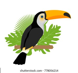 Toco toucan icon is a flat, cartoon style. Exotic bird sitting on a branch in the tropics. Isolated on white background. Vector illustration