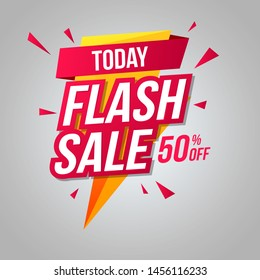 Today Flash Sale Logo Sale Offers Label Vector, Flash Sale Shopping Offers Vector