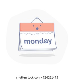 Today is Monday concept, red day in the cute upset calendar. Flat outline illustration concept of the beginning of a hard working week.