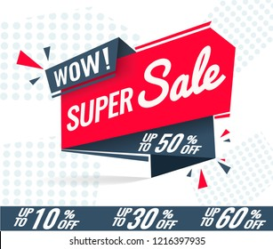 Today Only Mega Sale banner. Big super sale, flat 50% off. Vector illustration, special offer, up to 10% 30% 50% 60%