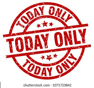 today only round red grunge stamp