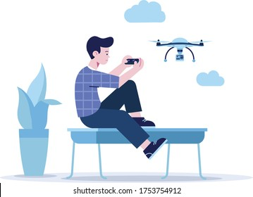 today's hobby tomorrow's skills, boy playing with drone, boy controlling drone with remote, drone with camera