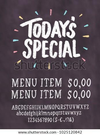 todays special menu chalkboard menu template stock vector royalty