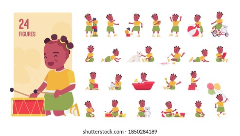 Toddler child, little black girl playing with toys character set, pose sequences. Cute healthy baby age 12, 36 months, wearing summer dress. Full length, different views, gestures, emotions, positions
